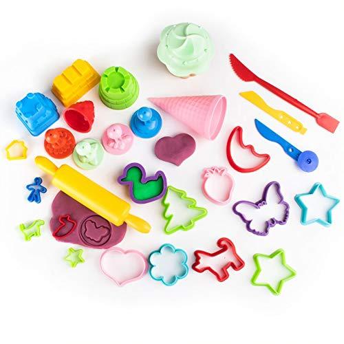 GenioKids 30 Stück Knetwerkzeug Knete Zubehör Küchenspielzeug Back Set Teigwerkzeug