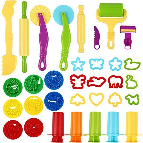 Etmury Knetwerkzeug Teig Plastilin Werkzeuge, Knete zubehör Ausstechformen Küchenspielzeug, 33 Stück