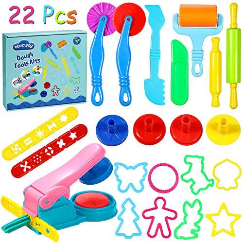 aovowog Knete zubehör Knetwerkzeug Teig Plastilin Werkzeuge Clay Extruder Ausstechformen Küchenspielzeug 22 Stück Zufällige Farben für Kinder(Ton Nicht enthalten)