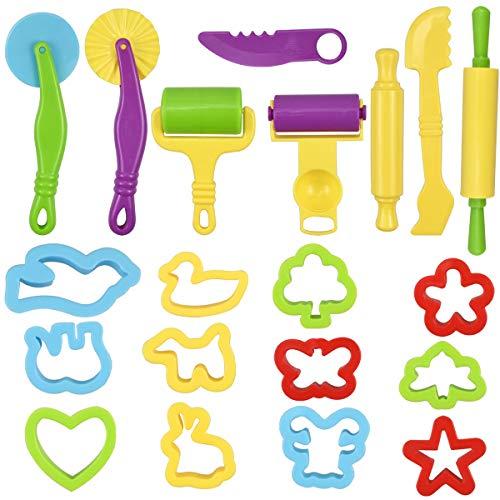 kissral 20 Stück Knetwerkzeug Kinder, Knetwerkzeug Teig Plastilin Werkzeuge Knete Zubehör Ausstechformen Küchenspielzeug Clay Zubehör Teig Werkzeuge für Knete