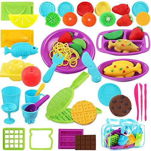 BAKHK Speise Knetwerkzeug Kinder, Knete Werkzeug Plastilin Knete Zubehör Spielzeug, Ausstechformen für Knete