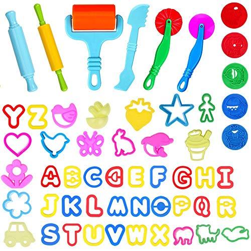 Faburo 57 Stück Knetwerkzeug Knete Zubehör Plastilin Werkzeuge Ausstecher Backset Spielzeug für Kinder