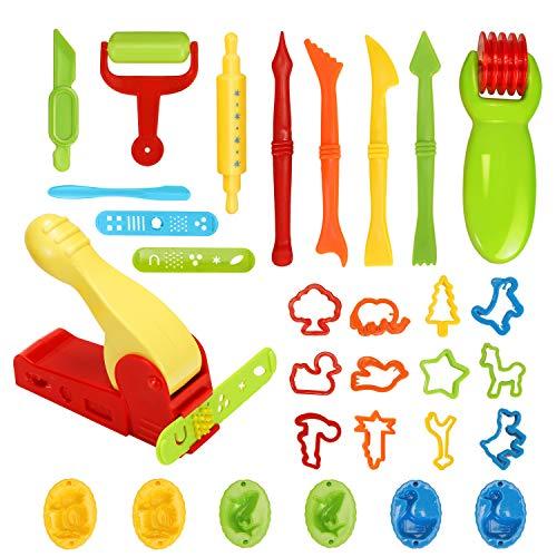 Ucradle 30 Stück Knetwerkzeug Teig Plastilin Werkzeuge, Vielseitiges Knete Werkzeug Kinder Knete Zubehör Spielzeug, Ausstechformen Extruder Küchenspielzeug Modellierwerkzeug Knetwerkzeugset Geschenk