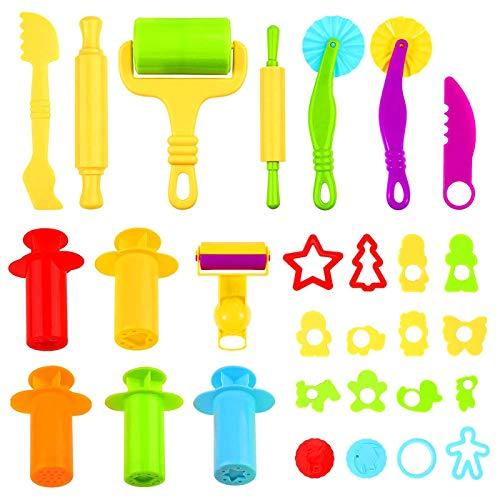 Ucradle 29 Stück Knete Zubehör-Knetwerkzeug Teig,Vielseitiges Werkzeug Knete Spielzeug Set für ab 2 Jahre Kinder, Ausstechformen Knete Küchenspielzeug Modellierwerkzeug Knetwerkzeugset Geschenk