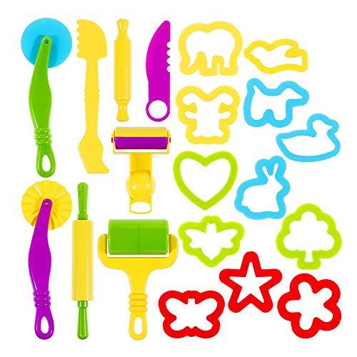 Gobesty Knete Zubehör, 20 Pcs Kinder Knetwerkzeug Teig Plastilin Küchenspielzeug Knete Zubehör Spielzeug Knete Modellierwerkzeug mit Teig-Extruder Walzenform-Kit Schaufel und Schneidwerkzeuge